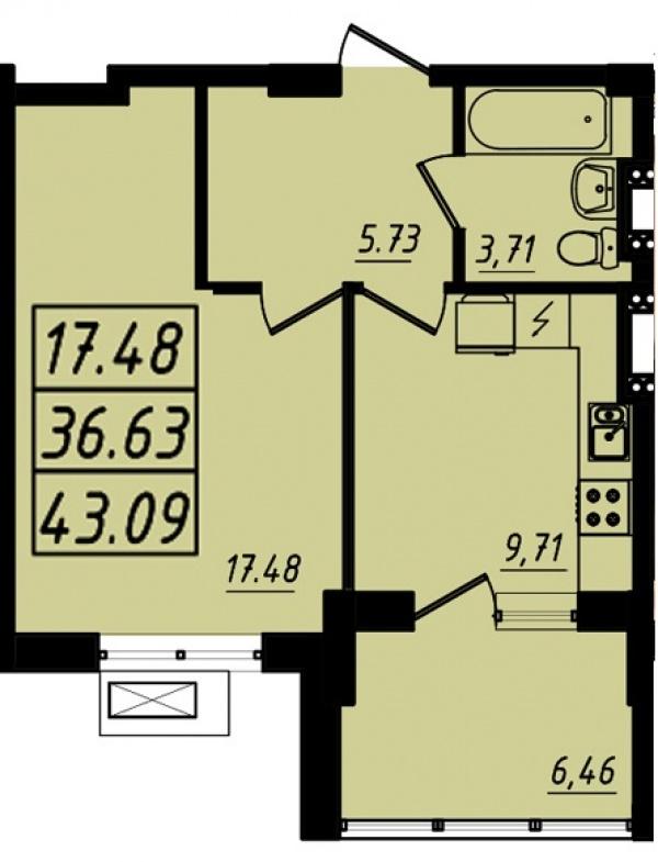 Планировки однокомнатных квартир 43.09 м^2